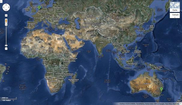 Australia & Europe world map